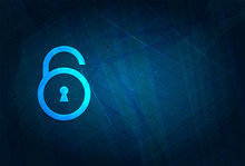 Padlock Open Icon Futuristic Digital Abstract Blue Background