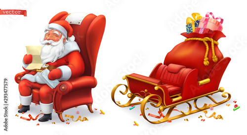 Obraz Santa Claus and sleigh with gifts. 3d vector icons - fototapety do salonu