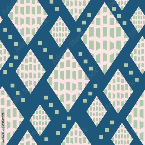 Mid century inspired seamless pattern with diamond shapes, small squares and bold texture Canvas Print