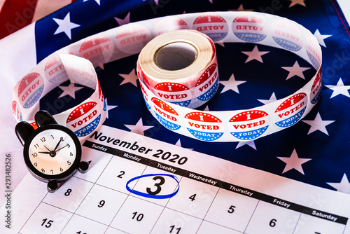 Valokuva  Patriot background with a calendar marked on November 3, 2020, presidential elections