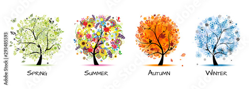Fototapeta Four seasons - spring, summer, autumn, winter. Art tree beautiful for your design obraz