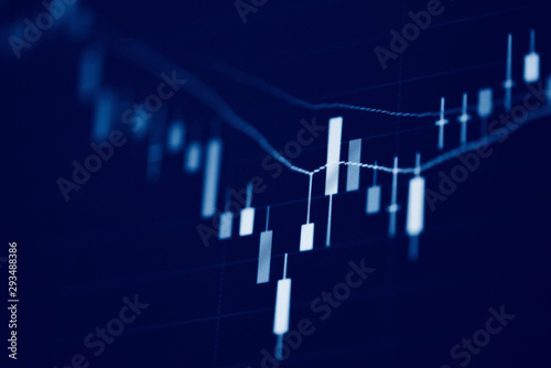 Stock exchange market or forex trading graph analysis investment indicator Busin Fototapete