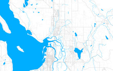 Rich Detailed Vector Map Of Marysville, Washington, USA