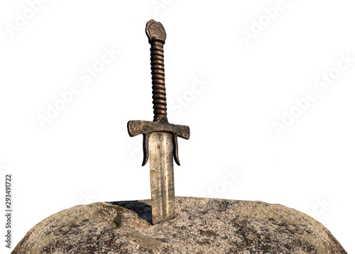 Photo Excalibur, King Arthur's sword in stone isolated on white background
