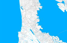 Rich Detailed Vector Map Of South San Francisco, California, USA