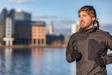 Winter Running Athlete Man Jog...