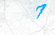 Rich Detailed Vector Map Of Mansfield, Texas, USA