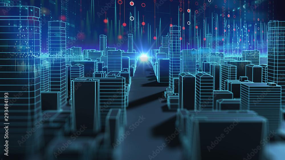 Fototapety, obrazy: smart city and  Digital landscape in  cyber world.3d illustration