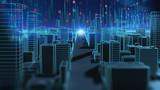 Fototapeta Miasto - smart city and  Digital landscape in  cyber world.3d illustration