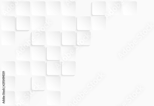 Fototapeta Abstract . geometric square paper white background ,light and shadow . Vector. obraz