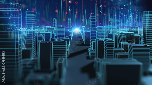 smart city and Digital landscape in cyber world.3d illustration