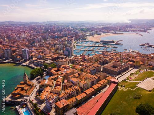 Cityscape and marina of Gijon