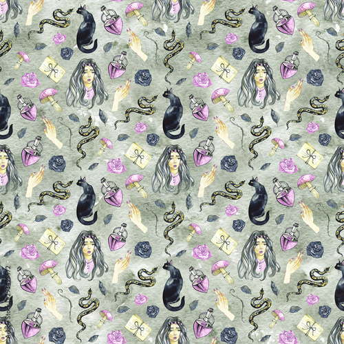 Watercolor esoteric seamless pattern. Dark fairy tale design. Halloween witch