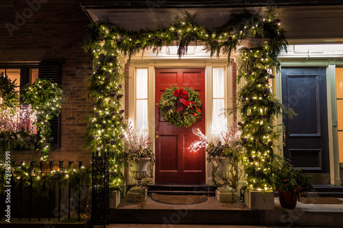 Christmas Decoration on the Door Wallpaper Mural