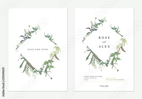 Pinturas sobre lienzo  Flowers and foliage wedding invitation card template design, diamond frame decor
