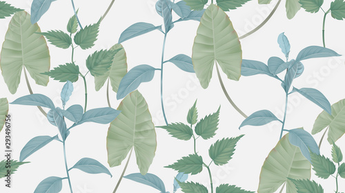 Foliage seamless pattern, various leaves in green on light grey, pastel vintage theme