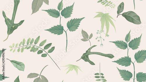 Flowers and foliage seamless pattern, various leaves and flowers in green on light brown, pastel vintage theme