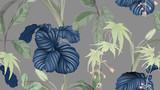 Wzór kwiaty i liście, różne liście i kwiaty w kolorze zielonym na szarym, pastelowym stylu vintage - 293496961