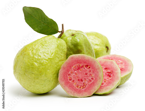 Pink guava isolated on white background - 293497113