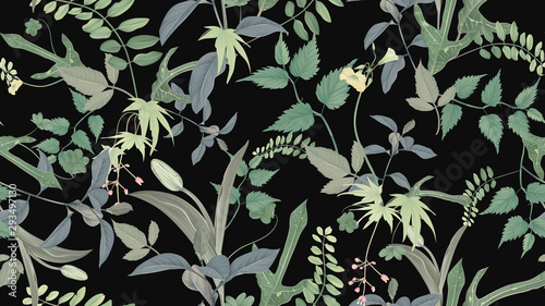 Flowers and foliage seamless pattern, various leaves and flowers in green on dark grey, pastel vintage theme