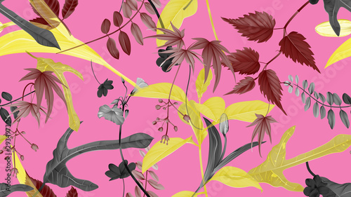 Flowers and foliage seamless pattern, various leaves and flowers in yellow, dark red and black on pink