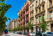 View of the picturesque houses in Eixample district. Barcelona. Spain