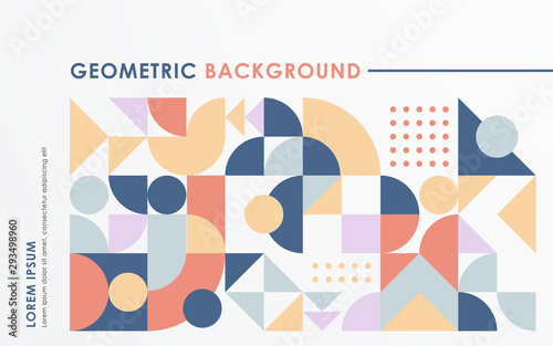 Abstract retro geometric shape background pastel color.