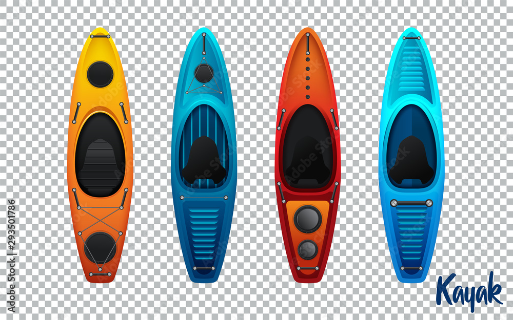 Fototapety, obrazy: kayak from plastic for fishing and tourism vector illustration isolated on transparent background. Vector illustration