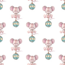 Seamless Pattern With Cute Mice And Christmas Ball Toy.
