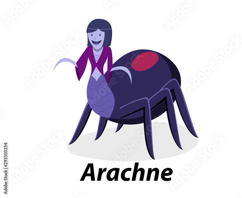 Photo Arachne isolated on white in flat vector art