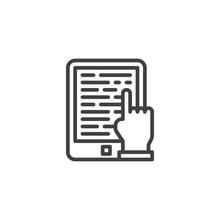 Ebook Reading Line Icon. E-lea...