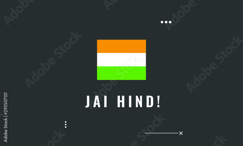Fotografie, Obraz Jai Hind with Indian Flag Poster