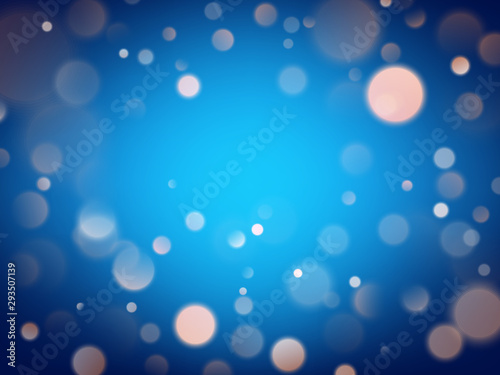 Fototapety, obrazy: Abstract warm bokeh effect on blue background. Gold glitter lights. EPS 10