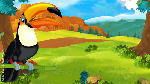 cartoon scene with happy toucan sitting on some branch and looking - illustration for children