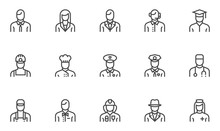 Professions Vector Line Icons ...