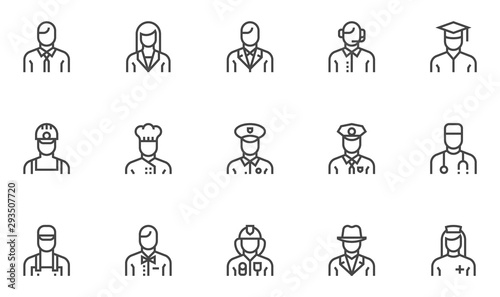 Cuadros en Lienzo Professions vector line icons set