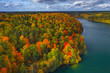 Aerial Drone view of colorful forest and Green lakes