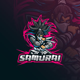 samurai mascot logo design vector with modern illustration concept style for badge, emblem and tshirt printing. samurai illustration with sword in hand.