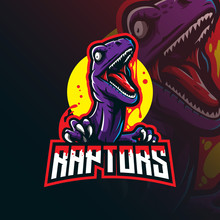 Raptor Mascot Logo Design Vector With Modern Illustration Concept Style For Badge, Emblem And Tshirt Printing. Angry Raptor Illustration.