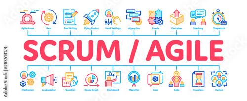 Scrum Agile Minimal Infographic Web Banner Vector Canvas Print