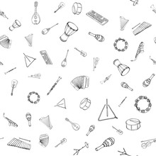 Vector Seamless Pattern Of Musical Instruments. Linear Hand Drawn Illustration In Cartoon Style.