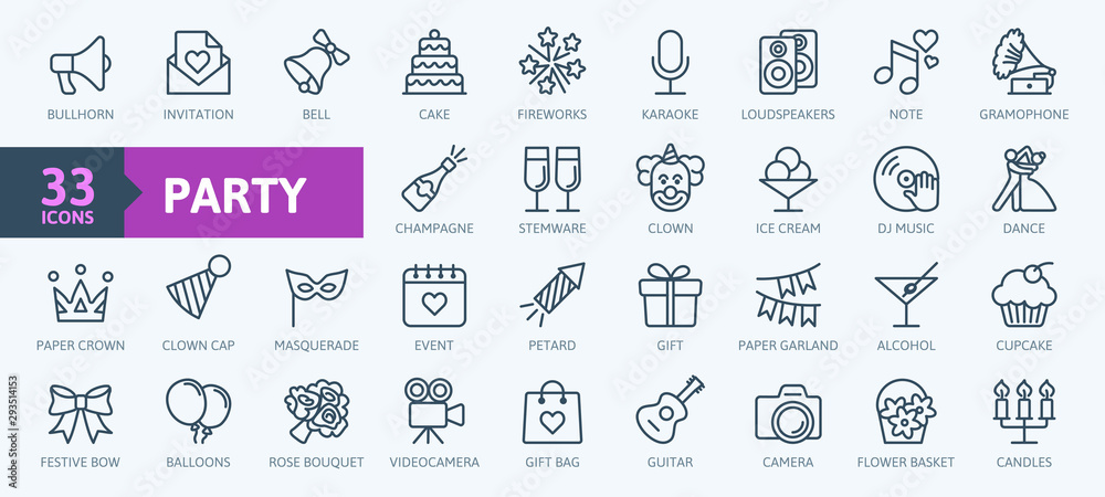 Fototapeta Party, celebration, anniversary elements - thin line web icon set. Outline icons collection. Simple vector illustration.