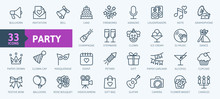 Party, Celebration, Anniversary Elements - Thin Line Web Icon Set. Outline Icons Collection. Simple Vector Illustration.