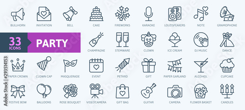 Fotografie, Tablou Party, celebration, anniversary elements - thin line web icon set