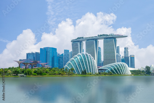 skyline of singapore at the marina bay