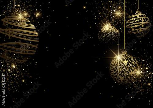 Foto auf Leinwand Lineale Wachstum Black Christmas Background with Golden Christmas Balls from Wire Mesh and Gold Glitters - Graphic Design for Xmas Greetings and etc., Vector