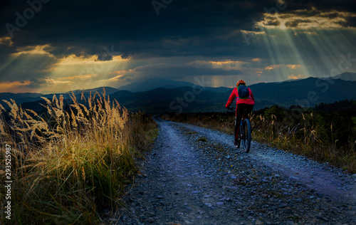 Fotomural  Cycling woman riding on bike in autumn mountains forest landscape