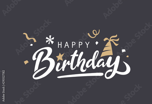 Fotografía Happy Birthday typography vector design for greeting cards and poster