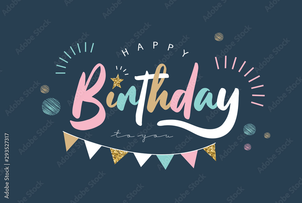 Fototapeta Happy Birthday typography vector design for greeting cards and poster