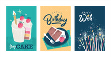 Set Of Birthday Greeting Cards...